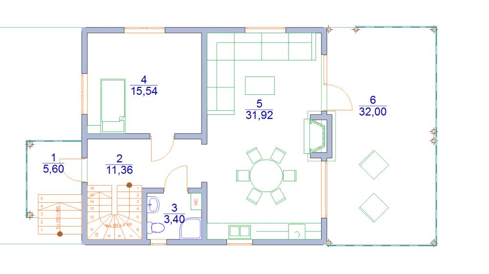 каркасный дом 8 х 9 с террасой