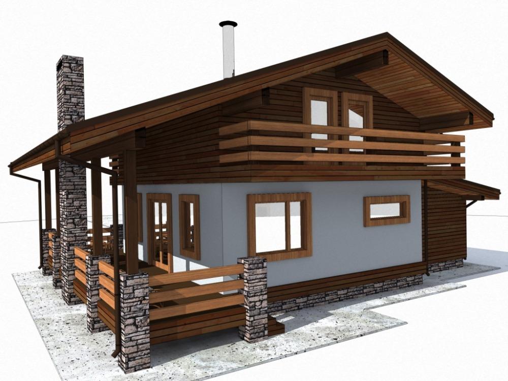 каркасный дом 12 х 15 в стилистике шале