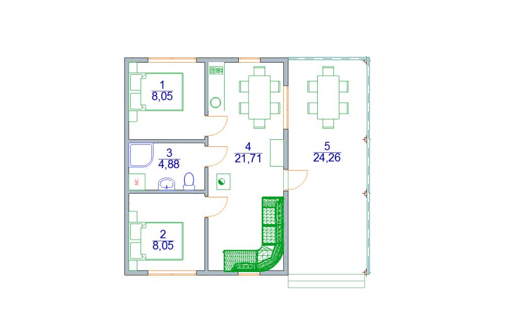 одноэтажный домик шале