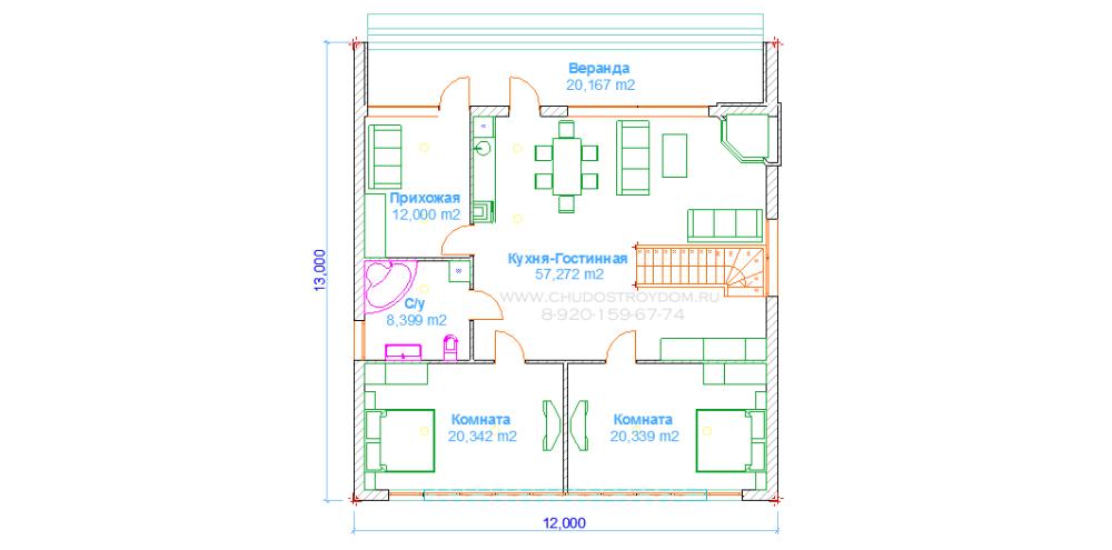 дом 12 х 13 под ключ