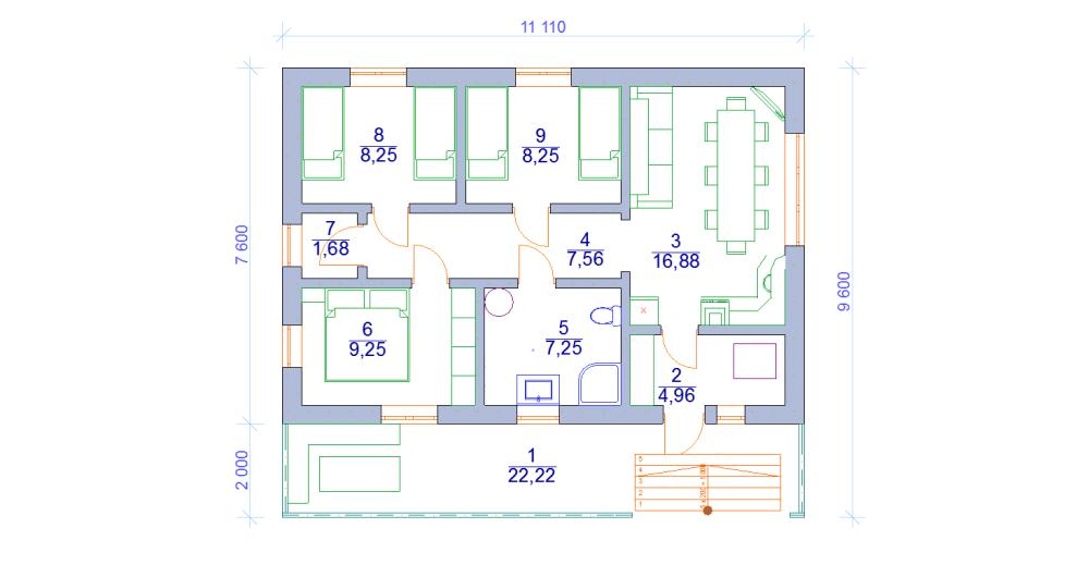 одноэтажный дом шале