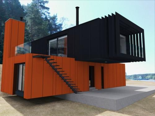 Двухэтажный модульный дом современный STUDIO - 120